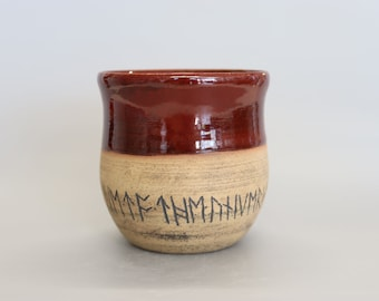 Handmade Ceramic Wine/Whiskey Cup Tumbler Inscribed with Runes