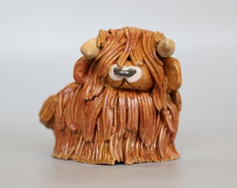 Handmade Ceramic Highland Bull Coo