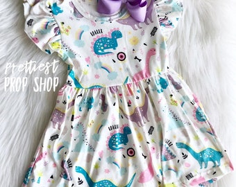 14fa8b18 Dinosaur Dress, Twirl Dress, Girl, Toddler, Summer Dress, Spring Dress, Dino  Dress