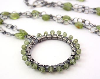 Peridot Necklace ~ Eco-Friendly Recycled Sterling Silver ~ Handcrafted with Delicate Faceted Natural Gemstones ~ Bright Olive ~ Lime Green