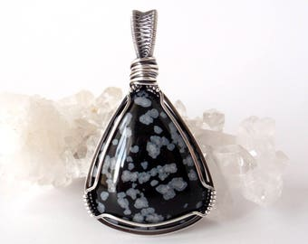 Snowflake Obsidian Pendant ~ Hand-cut Natural Monochrome Stone ~ Handcrafted with Eco-Friendly Recycled Sterling Silver ~ Guitar Pick Shape