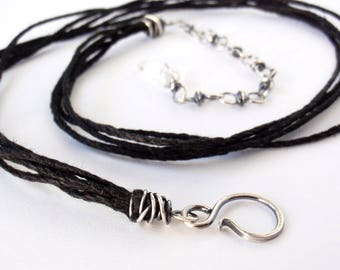 40cm Black Hemp Necklace ~ 16 inches ~ Handcrafted with Eco-Recycled Sterling Silver ~ Extension Chain with Clear Quartz Drop