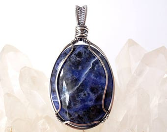 Sodalite Pendant ~ Handcrafted with Eco-Recycled Sterling Silver ~ Natural Indigo Blue Gemstone ~ Throat and Third Eye Chakra Amulet