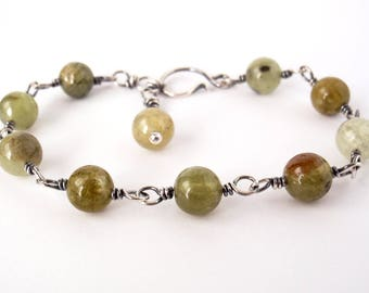 Green Garnet Bracelet ~ Handcrafted with Eco-Recycled Sterling Silver ~ Grossular Garnet ~ Protective Crystal ~ Olive Green ~ Moss ~ Fern
