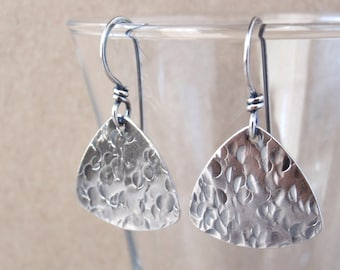Sterling Silver Guitar Pick Earrings ~ Handcrafted with Australian-Made Recycled Sterling Silver ~ Oxidised Jewellery ~ Music Lover Gift