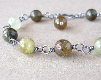 Green Garnet Bracelet ~ Handcrafted with Eco-Recycled Sterling Silver ~ Grossular Garnet ~ Olive Green Crystal  ~ Autumnal Greens