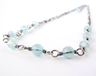 Aquamarine Necklace ~ Handcrafted with Eco-Friendly Recycled Sterling Silver ~ Delicate Pale Aqua Blue Round Gemstones ~ March Birthstone
