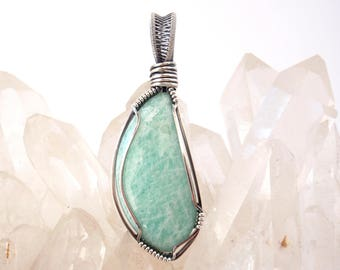 Amazonite Pendant ~ Handcrafted with Eco-Recycled Sterling Silver ~ Handcut Natural Aqua Gemstone ~ Crystal Talisman ~ Soothing Energy