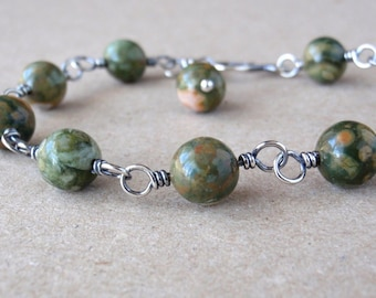 Rhyolite Bracelet ~ Handcrafted with Eco-Recycled 925 Sterling Silver ~ Natural Earthy Green Stone ~ Colours of Nature ~ Unique Gift for Her