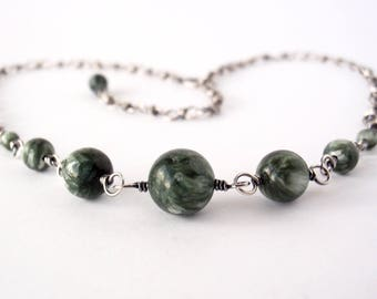 Seraphinite Necklace ~ Handcrafted with Recycled Sterling Silver ~ Icy Shimmery Frosted Green Gemstones ~ Ethereal Energy ~ Crystal Magick