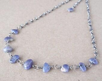 Tanzanite Necklace, Handcrafted with Recycled 925 Sterling Silver, Cornflower-Blue Freeform Gemstones, December Birthstone, Artisan, Unique