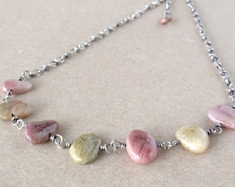 Tourmaline Necklace, Handcrafted with Recycled 925 Sterling Silver, Natural Dusky Pink and Olive Green Gemstones, October Birthstone