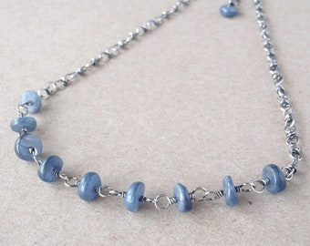 Kyanite Necklace, Handcrafted with Recycled 925 Sterling Silver, Natural Icy Denim-Blue Gemstones, Special Occasion or Everyday Sparkle