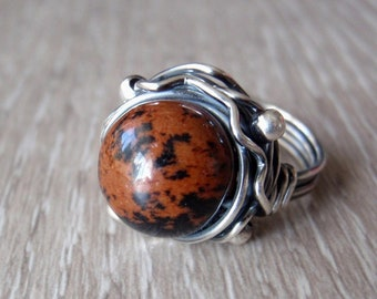 Mahogany Obsidian Ring, 12mm Gemstone, Aus/UK Size N, US Size 6.5, Handmade 925 Sterling Silver Orbit Ring, Dark Red-Brown and Black Stone