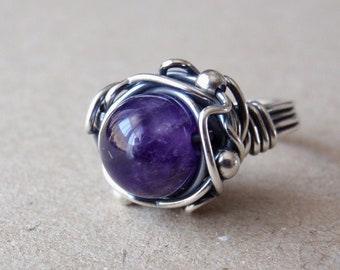 Amethyst Ring, Size 7/Size O, Handcrafted 925 Sterling Silver Orbit Ring, Purple Gemstone, Oxidised Silver, February Birthstone Crystal Gift