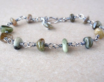 Green Tourmaline Bracelet ~ Natural Gemstones ~ Handcrafted with Eco-Recycled 925 Sterling Silver ~ October Birthstone ~ Autumn Inspired