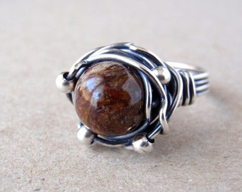 Pietersite Ring, Aus/UK Size S, US Size 9, Handcrafted Oxidised Sterling Silver Orbit Ring, Natural Golden Brown Gemstone, Rich Earthy Tones