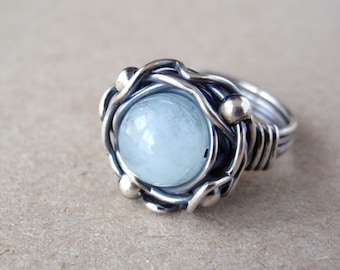 Aquamarine Ring, US Size 7, Aus/UK Size O, Pale Ice Blue Gemstone, Handcrafted with Oxidised 925 Sterling Silver, March Birthstone Gift
