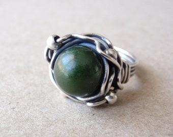Nephrite Jade Ring, Aus/UK Size Q, US Size 8, Natural Dark Green Gemstone, Handcrafted Oxidised Sterling Silver Orbit Ring, Prosperity Stone
