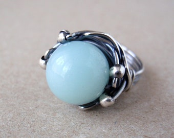 Amazonite Ring, Aus/UK Size P, US Size 7.5, Handcrafted Oxidised Sterling Silver Orbit Ring, Natural Aqua Gemstone, Meaningful Jewellery