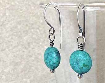 Turquoise Earrings, Handcrafted with Recycled Sterling Silver, December Birthstone, Stabilised Blue Gemstones, Perfect Crystal Gift for Her