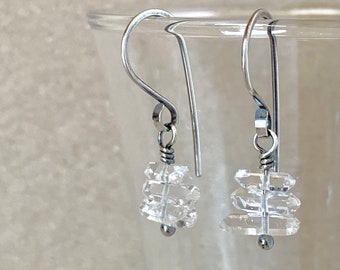 Raw Quartz Crystal Earrings, Tiny Double Terminated Crystal Stack, Handcrafted with Recycled Sterling Silver, Wedding Sparkle, Boho Bridal