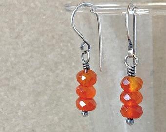 Faceted Carnelian Earrings, Fiery Orange-Red Gemstones, Handcrafted with Recycled 925 Sterling Silver, July Birthstone , Energising Crystal