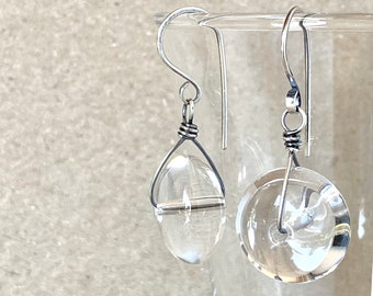 Clear Quartz Earrings, Handcrafted with Eco-Recycled 925 Sterling Silver, Natural Rock Crystal, April Birthstone, Sparkley Gemstone Gift