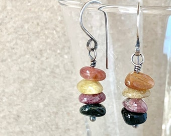 Tourmaline Earrings, Multi-Coloured Polished Gemstones, Handcrafted with Recycled Sterling Silver, Crystal Stack, Gift for Her, Fall Tones