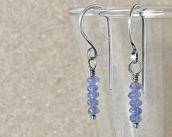 Tanzanite Earrings, Tiny Blue Gemstones on Handcrafted Recycled 925 Sterling Silver Hooks, December Birthstone, Petite Crystal Gift