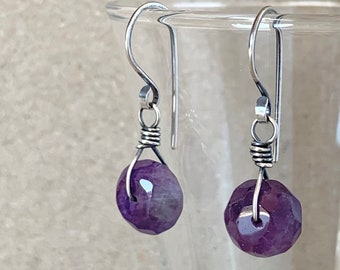 Amethyst Earrings, Natural Purple Faceted Gemstones with Eco-Recycled 925 Sterling Silver Hooks, February Birthstone, Perfect Crystal Gift