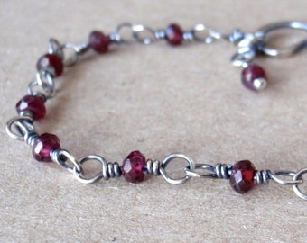 Garnet Bracelet ~ Handcrafted with Eco-Recycled Sterling Silver ~ Dark Blood Red Faceted Gemstones ~ January Birthstone ~ Crystal Gift