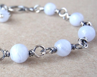 Blue Lace Agate Bracelet, Natural Pale Blue Gemstones, Handcrafted with Recycled 925 Sterling Silver, Celestial, Tiny Planets, Throat Chakra