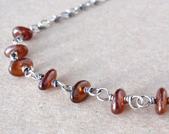Spessartine Garnet Necklace, Cognac-coloured Gemstone, Handcrafted with Recycled 925 Sterling Silver, Sacral Chakra Crystal