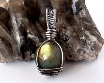 Labradorite Mini Crystal Ball Pendant ~ Handcrafted with Recycled Sterling Silver ~ Mystical Talisman ~ Magickal Spiritual Intuition Amulet