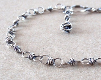 Sterling Silver Bracelet ~ Delicate Chain ~ Handcrafted with Recycled 925 Sterling Silver ~ Oxidised ~ Australian Made ~ Ethical Jewellery
