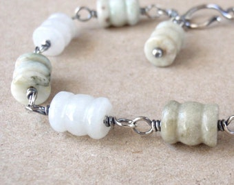 Jadeite Bracelet ~ Handcrafted with Recycled Oxidised Sterling Silver ~ Genuine Jadeite Gemstones ~ Natural Pale Olive Green and White Stone