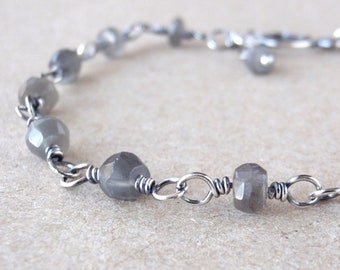 Faceted Grey Moonstone Bracelet ~ Handcrafted with Recycled 925 Sterling Silver ~ Natural Silvery Gemstones ~ Delicate, Elegant Crystal Gift