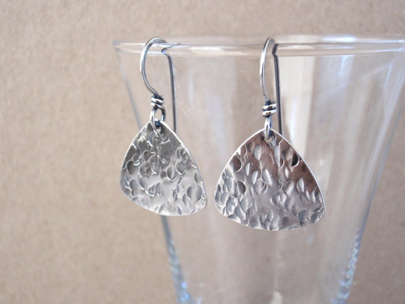 Sterling Silver Guitar Pick Earrings  Handcrafted with image 0