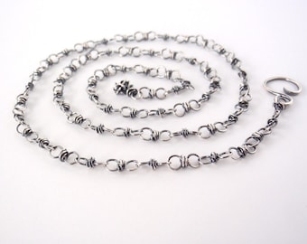 50cm Sterling Silver Chain ~ 20 inch ~ Handmade Chain ~ Antiqued Eco-Friendly Recycled Sterling Silver ~ Oxidised ~ Wire Wrapped Loops
