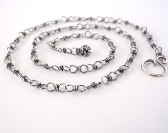 45cm Sterling Silver Chain ~ 18 inch ~ Handmade Chain ~ Antiqued Eco-Friendly Recycled Sterling Silver ~ Oxidised ~ Wire Wrapped Loops