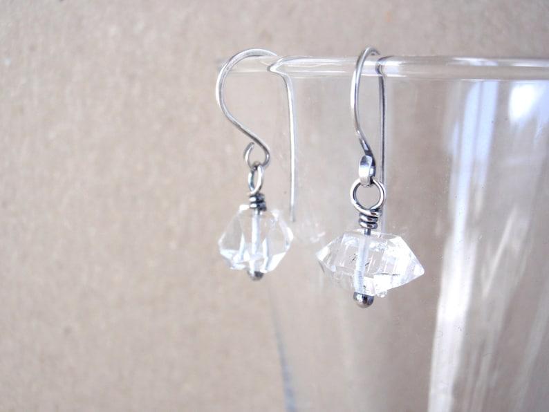 Raw Quartz Crystal Earrings Petite Double Terminated image 0