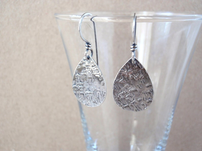 Recycled Sterling Silver Earrings  Pear Shape  Handcrafted image 0