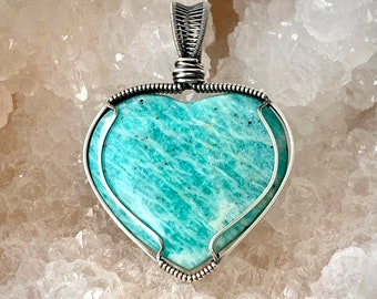 Amazonite Heart Pendant, Handcrafted with Recycled Sterling Silver, Natural Large Aqua Gemstone, Soothing Crystal, Meaningful Gift for Her