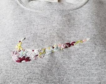 Hand Embroidered Nike/College Sweatshirt