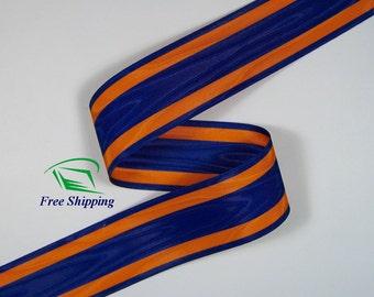 "1.5"" (38mm) Orange, Blue Moire Stripe Grosgrain Ribbon 1068 (BTY)"