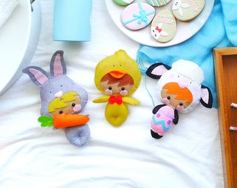 Little Chicken, Little Lamb and Little Rabbit Doll Patterns, Easter Doll Pattern