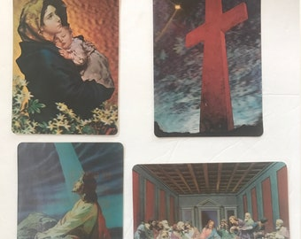 Set of 4 vintage Multi Motion and 3D collectors series postcards with religious theme. #964