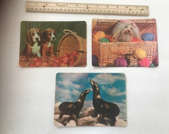 "Set of 3 vintage multi motion and 3D collectors series postcards. Measure 6 1/4"" -6 1/2"" x 4 1/2"" - 4 3/4"". #967"