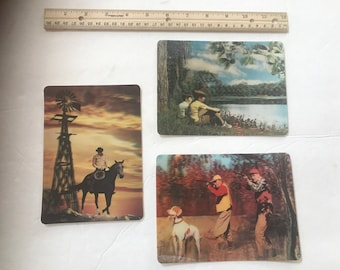 Set of 3 vintage Multi Motion and 3D collectors series postcards. #965